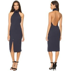 Bec & Bridge Blue Iodine Midi Dress High Neck